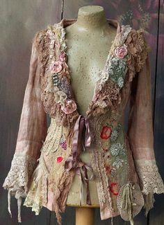 Baroque summer jacket linen jackethand dyed antique laces