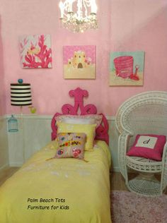 Beach ocean themed bedroom for girls.  Pink and yellow girls bedroom design with beach island décor.   Art, bedding, lighting, furniture, rug and accents all from Palm Beach Tots - Furniture for Kids.