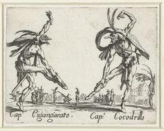 Twee straatartiesten als Capitano Esgangarato en Capitano Cocodrillo, Jacques Callot, 1621 - 1622
