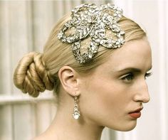 Sabrina Comb  Large swarovski floral comb with french netting detail    Designer: Enchanted Atelier  $70