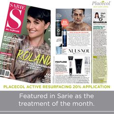 Placecol Active Resurfacing application featured in Sarie as the treatment of the month. Skin Care Clinic, Salons, Fresh, Beauty, Lounges, Beauty Illustration