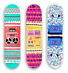 I like these designs because they are all uniquely different with various patterns and designs. I like the first one the most because I like the color combination of the turquoise blue and pink together. Also I like how it appears to be a stereo. skateboard design