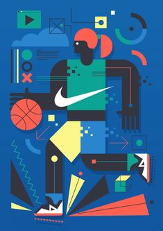 In this post a series of impressive illustrations made by Neil Stevens. Neil created a handful of pitched ideas for a new Nike wall mural to be placed within an outdoor basketball court in Barcelona. Outdoor Basketball Court, Basketball Wall, Basketball Shoes, Basketball Playoffs, Basketball Legends, College Basketball, Neil Stevens, Sports Graphic Design, Baskets