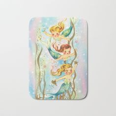 Mermaids Pastel Sparkles Bath Mat by frostbytegraphics Vintage Mermaid, Mermaid Birthday, Mermaids, Sparkle, Pastel, Printable, Illustrations, Signs, Decor