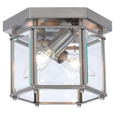 Sea Gull Lighting Bretton 2-Light Brushed Nickel Ceiling Fixture with Clear Beveled Glass Panels-7647-962 at The Home Depot