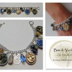 Bracelet capsules nespresso pampilles - or pale / bleu roi / vert bronze