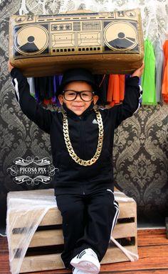 Run DMC costume | Halloween mini session | Halloween photography | Run DMC toddler costume photography | Kid Hip Hop Halloween costume | Halloween photo shoot | Boombox photo prop