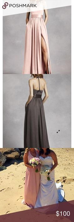 """David's Bridal V neck Halter with sash ⭐️WORN ONCE!⭐️An exquisite gown that is perfect for a wedding party or any special event! V-neck halter gown with matte crepe bodice features bow detail at back. Long soft charmeuse skirt with middle slit and trapunto-stitched satin sash finishes off the look. Fully lined. Back zip. Imported crepe/matte/charmeuse. Color is blush! Hemmed for a 5'5"""" woman. David's Bridal Dresses Wedding"""