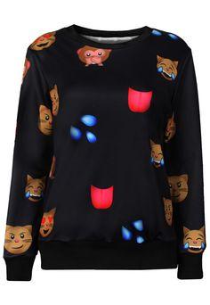 Black Emoji QQ Expression 3D Print Sweatshirt