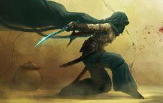 Sand warrior - fantasy art Inspiration of an Under City Assassin 3d Fantasy, Fantasy Warrior, Fantasy World, Character Concept, Character Art, Concept Art, Character Portraits, Fantasy Inspiration, Character Inspiration