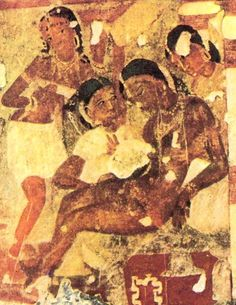 Ajanta Cave paintings  The Dying Princess, Conversion of Nanda, Cave 16    Serving woman appears to be wearing a breastband?