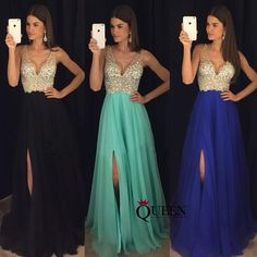 Mint Black Royal Blue Champagne Chiffon A-Line Beaded Top Low V-Neck Side Slit Long Prom Dress, Formal Gown With Deep V Bare Back - Thumbnail 3
