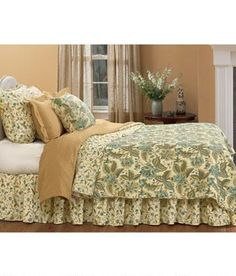 Set on a natural background, this stylish Jacobean floral comforter set features colors of aqua blue, olive, sage and brown (Country Curtains Olivia Quilt)
