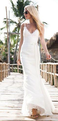 Spaghetti Straps Lace Trumpet Natural Waist Sash Beach Wedding Dress  #WEDDING #lace