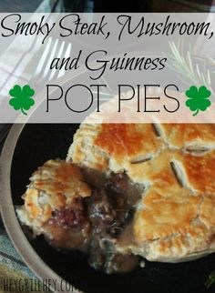 Smoky Steak Mushroom and Guinness Pot Pies Recipe on Yummly. Steak And Mushroom Pie, Steak And Mushrooms, Stuffed Mushrooms, Irish Recipes, Pie Recipes, Smoker Recipes, English Recipes, Dinner Recipes, Cooking Recipes