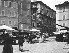 Campo de' Fiori Anno: 1910 ca. Best Cities In Europe, Once Upon A Time, Old Photos, Rome, Street View, Memories, Antique, Vintage, Pictures