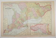 Ontario Canada Map 1902 Gift Idea for the Home Decor Vintage Wall Map Great Lakes Wedding Gift Canadian Travel Map Genealogy History Map Art by OldMapsandPrints on Etsy