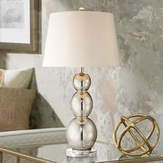 CCC 2015 on dresser - Mercury Glass Triple Gourd Table Lamp