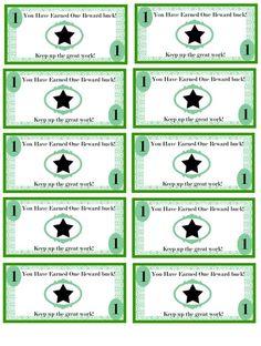 classroom bucks template - reward bucks template reading rewards charts galore