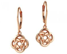 chicmarket.com - 18K Rose Gold Love Knot Dangle Earrings