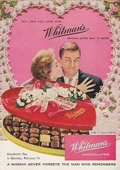 paperink id: Valentine Die-Cut Box Whitman Chocolates Candy 1959 AD ORIGINAL PERIOD Magazine Advertisement. Smaller size AD measuring approximately x AD is in Very Good Condition a My Funny Valentine, Vintage Valentine Cards, Valentine Box, Vintage Greeting Cards, Happy Valentines Day, Valentine Images, Vintage Candy, Vintage Holiday, Amor