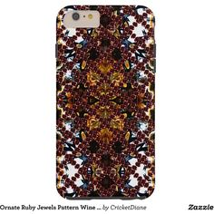 Ornate Ruby Jewels Pattern Wine Red Goth Steampunk Tough iPhone 6 Plus... (€47) ❤ liked on Polyvore featuring accessories, tech accessories, iphone case, apple iphone cases, print iphone case, iphone cover case and pattern iphone case