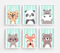 Sale Off - Printable Nursery Art Set of 6 - Tiger Panda Hippo Raccoon Fox Bear ( Baby room decor kids Poster Cute Animal kawaii Woodland Stitch Disney, Lilo Et Stitch, Baby Zimmer, X 23, Floral Pillows, Laura Lee, Baby Room Decor, Nursery Wall Art, Picture Wall