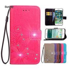 ed5fd1279a4 Sunjolly for Asus Zenfone 2 Laser ZE500KL Case Grass Rhinestone Flip Card  Wallet Holder Cover coque