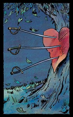 Three of Swords Tarot  Loved & Pinned by http://www.shivohamyoga.nl/ #tarotcards