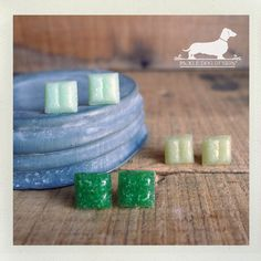 Lucky Ombre Glass Tile Post Earrings  by PickleDogDesign on Etsy, $12.00