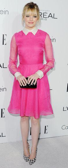 Fuchsia pink Valentino dress - Emma Stone red carpet celebrity style - handbag.com