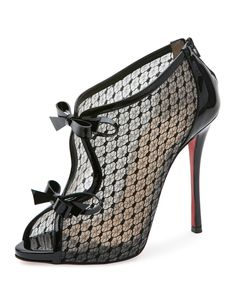 90629ddf4998 Henrietta Lace Peep-Toe Red Sole Bootie Black
