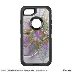 Floral Colorful Abstract Fractal With Pink & Gold OtterBox Defender iPhone 8/7 Case