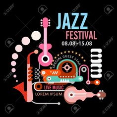 Jazz Festival Vector Poster. Art Composition Of Musical ...