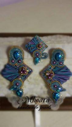 Shibori silk earrings 'Indian Style' design by Mhoara Jewels