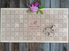 96 pieces Custom Wedding Guest Book Puzzle -Guest Book Alternative - Mixed grain pieces on Etsy, $175.00