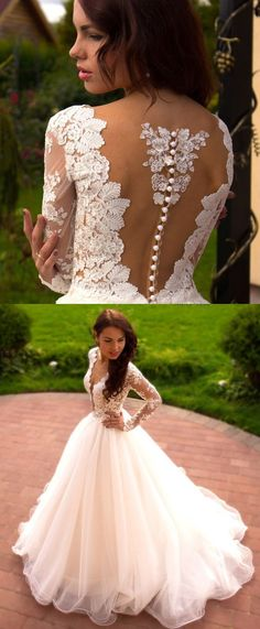 Long Sleeve Dresses Long White Wedding Dresses With Applique Zipper Floor-length Outstanding Wedding Dresses by DestinyDress, $225.00 USD
