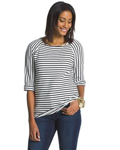 As chic as it is comfortable, this striped top gives you the best of both worlds. Softly textured fabric and a back zipper make it an instant favorite.   Wider, boxy silhouette.  3/4-sleeves.  Length: 24