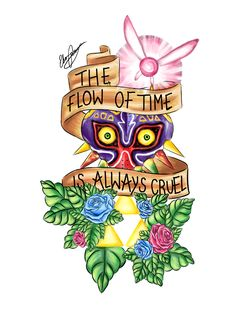Legend of Zelda Tattoo Design by ~Ebsie on deviantART This would be really cool to use majoras mask instead of the skull in that 'time waits for no one' tattoo design