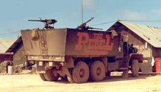 """""""The Rebel""""...formerly """"The Assassin""""...the only gun truck in 'Nam with this unique 'downward sloping' armor applied to a 5-ton cargo. Used for convoy escort, in this case with 57th TC, the 'Nam Nomads,"""