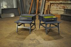 After: Designer Quality After a sleek paint job with a surprising bright green interior, these side table look like high-end designer pieces...