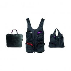 A multi pocket vest from Tintamar which can be turned into a bag by unzipping and re-zipping it.