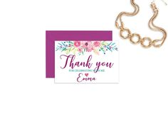 bridal shower thank you card baby shower thank you card thank you notes wedding