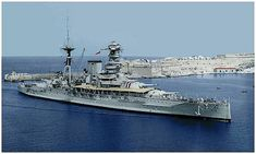 HMS Barham entering Valetta 1937-38.
