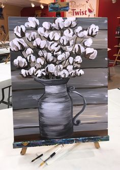 "Add some canvas to your coffee and paint something rustic this week. #CoffeeandCanvas  This piece of art is available to paint in a class at Painting with a Twist. It is called ""Vintage Cotton."""