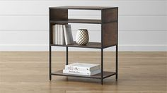 Knox Low Open Bookcase | Crate and Barrel Two of these side by side could be nice.  A similar option has drawers with an open shelf at bottom.  Need to compare height with existing cabinet as well.