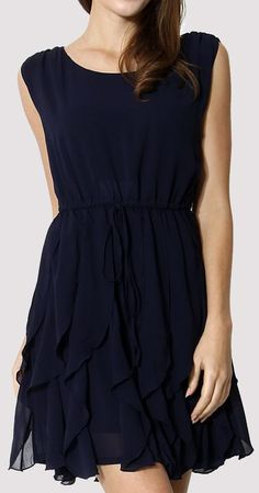 Navy Pleated Chiffon Dress ♥