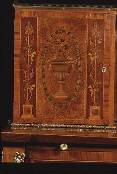 detail Desk (Bonheur du jour) Date: ca. 1780–90 Culture: British Medium: Wood, ivory, gilt-bronze Carcass woods: mahogany and oak, with mahogany drawer linings Veneer woods include satinwood, mahogany, yewwood, tulipwood, rosewood, partridegewood (?), walnut, green-stained sycamore, and boxwood stringing