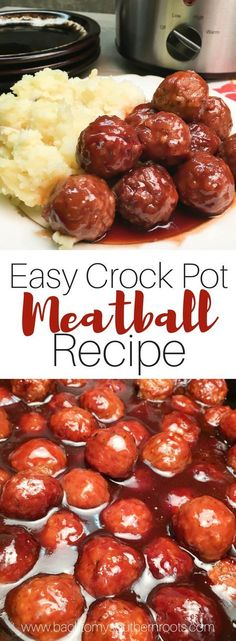 Easy Crock Pot Meatball Recipe is made up of frozen meatballs, barbecue and grap. - Easy Crock Pot Meatball Recipe is made up of frozen meatballs, barbecue and grape jelly. The dish m - Meat Appetizers, Appetizer Recipes, Party Appetizers, Party Snacks, Easiest Appetizers, Party Dips, Holiday Appetizers, Recipes Dinner, Bbq Party
