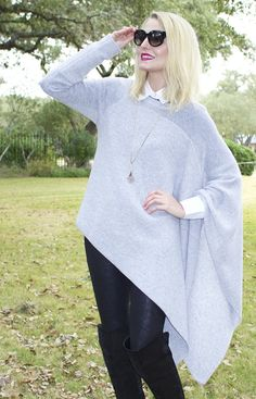 Erin from Busbee Style gets the best of both worlds with the sweater/poncho combination.